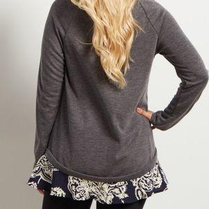 Pinkblush Sweaters - Pinkblush Charcoal Chiffon Sweater